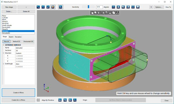 Mesh2Surface - The 3D Reverse engineering software